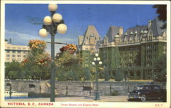 Flower Baskets And Empress Hotel Postcard