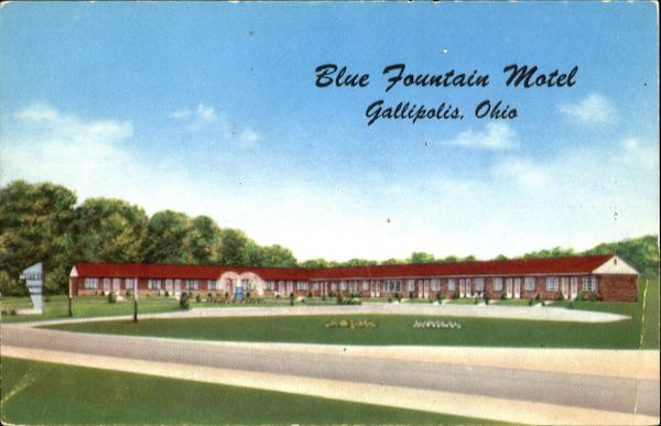 Blue Fountain Motel, North on U. S. Route 35 and State Route 7 Gallipolis Ohio