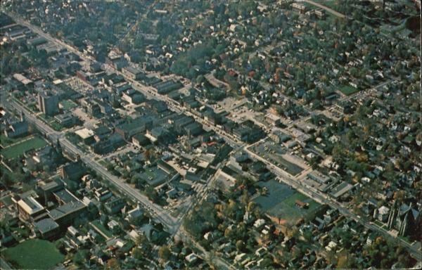 Aerial View Heart Of Downtown, St. Mary's Church - South Main St Cortland New York