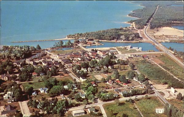 Aerial View Of Elk Rapids, Hwy 31 Michigan