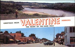 Greetings From Valentine, U. S. Highway 20 East Postcard