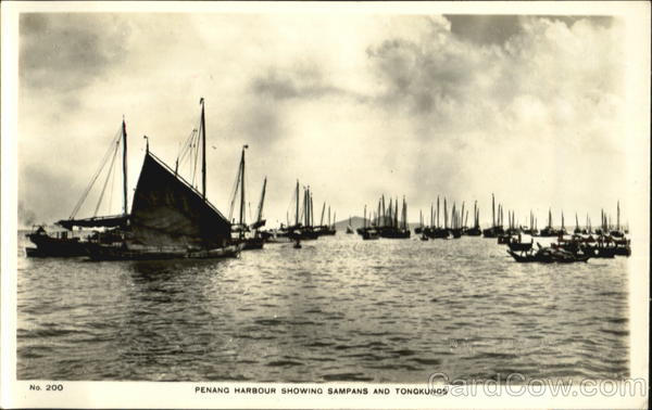 Penang Harbour Showing Sampans And Tongkungs Malaysia