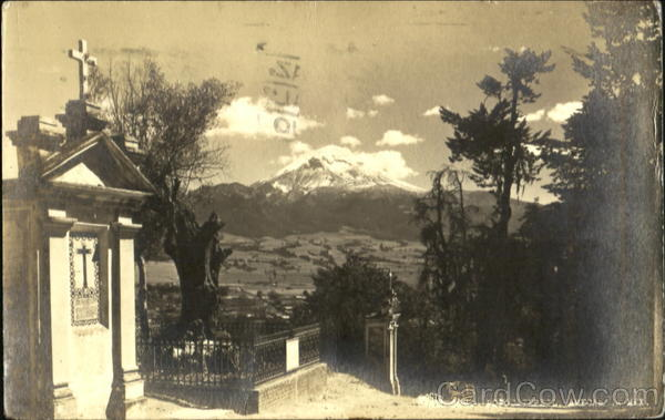 Mountain view in Mexico from cemetery