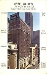 Hotel Bristol, 129 West 48th Street New York 36 Postcard