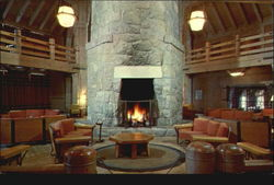 Fireplace In Lobby Of Timberline Lodge