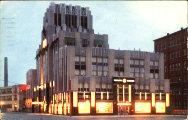 The Syracuse Lighting Company Office Building At Night, Erie Boulevard West at Franklin Street New York