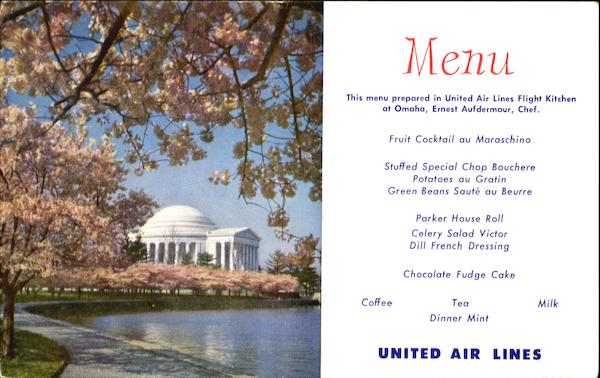 United Air Lines Menu Washington District of Columbia