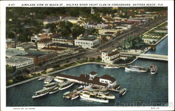 Airplane View Of Beach St., Halifax River Yacht Club In Foreground Daytona Beach Florida