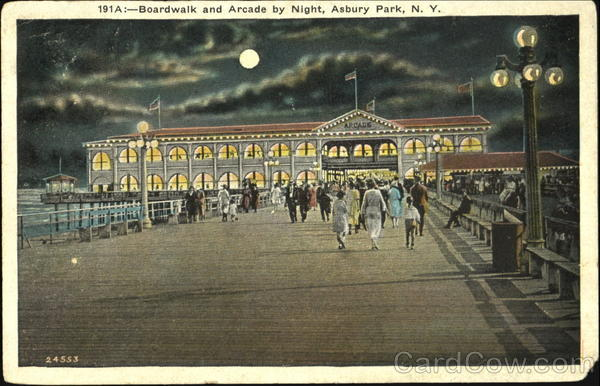Boardwalk And Arcade By Night Asbury Park New Jersey