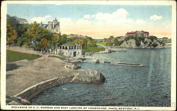 Residence Of E. D. Morgan And Boat Landing Of Commodore James Newport Rhode Island