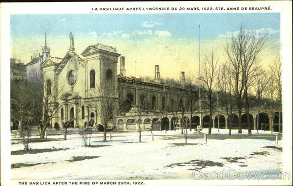 The Basilica After The Fire Of March 29Th, 1922 Ste. Anne de Beaupre Canada