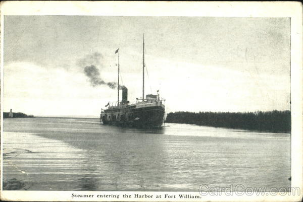Steamer Entering The Harbor Fort William Canada Misc. Canada