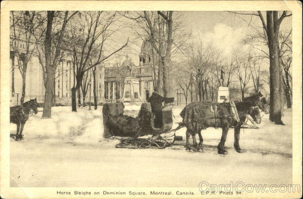 Horse Sleighs On Dominion Square Montreal Canada Quebec