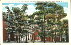 View Along The Campus Stony Brook Assembly And School For Boys Postcard