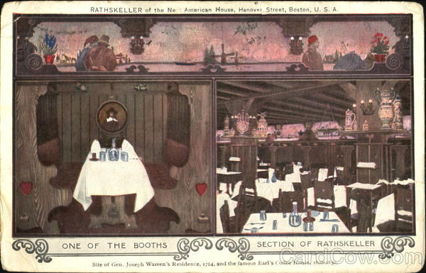 Rathskeller Of The New American House, Hanover Street Boston Massachusetts
