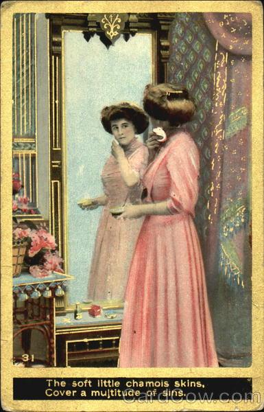 Lady Looking Into Mirror Women