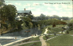 Swiss Cottage And Stream Postcard