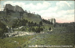 Big Saddle Butte, Lone Butte To Right Postcard