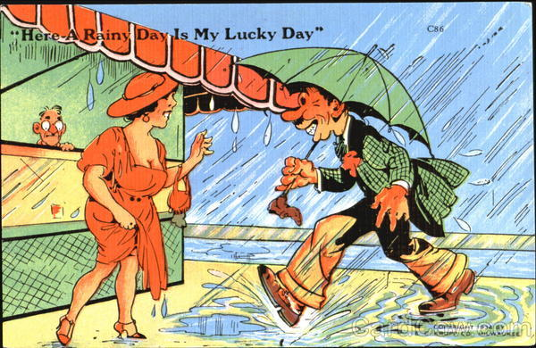 Here A Rainy Day Is My Lucky Day Comic, Funny