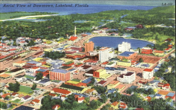 Aerial View Of Downtown Lakeland Florida