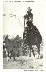 Clyde Burk On Old Baldy In Calf Roping Contest