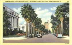 View On Tenth Street Showing State Library And Courts Buildings Postcard
