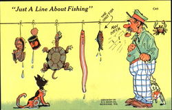 Just A Line About Fishing Postcard