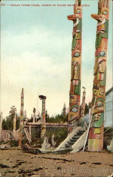Indian Totem Poles Prince of Wales Island Alaska