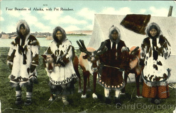 Four Beauties Of Alaska With Pet Reindeer Native Americana