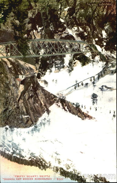 Suspension Bridge And Tunnel Placer Canyon Alaska