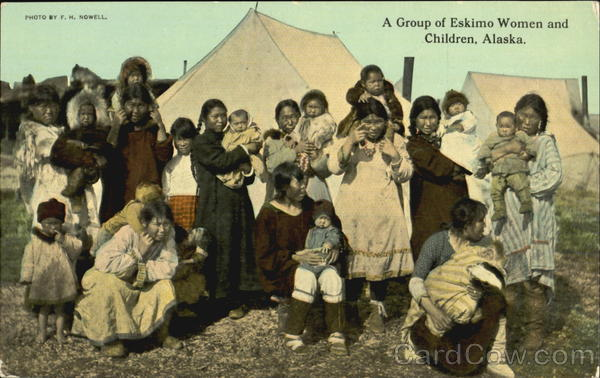 A Group Of Eskimo Women And Children Alaska Native Americana
