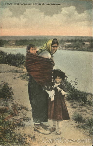Native Woman And Children Alaska Native Americana