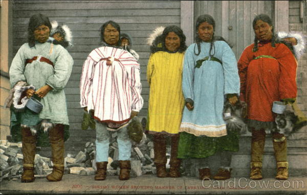 Eskimo Women Showing Manner Of Carrying Their Children Alaska