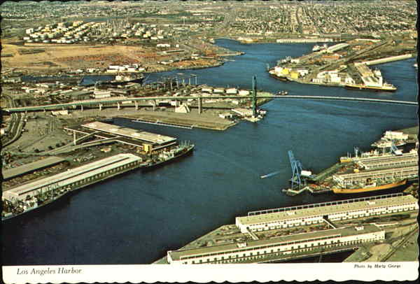 Aerial View Of Los Angeles Harbor San Pedro California
