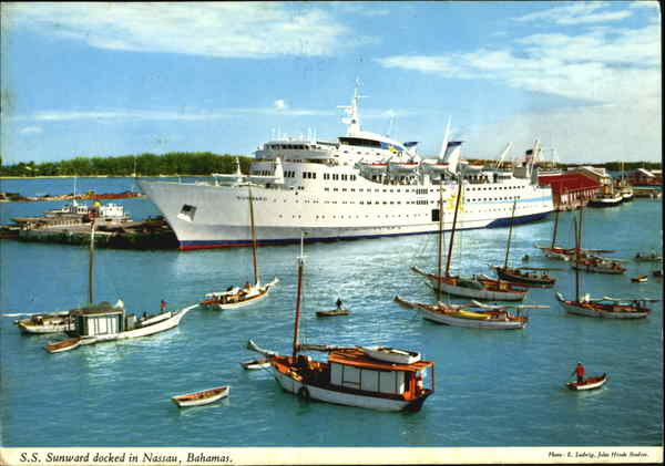 S. S. Sunward Docked In Nassau Bahamas Caribbean Islands