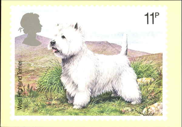 West Highland Terrier England Dogs First Day Issue Cards