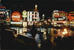 London By Night - Piccadilly Circus Postcard
