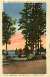 Golden Beach State Camping Grounds With Raquette Lake in the Background Postcard