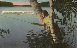 Lot of 100: Woman Fishing: A Familiar Scene In The Adirondack Mountains