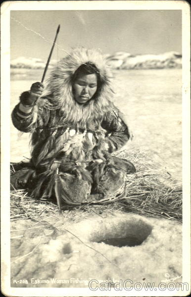 Eskimo Woman Fishing Through Ice Alaska Native Americana