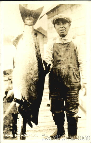 King Salmon Eskimo Fisherman Alaska Native Americana