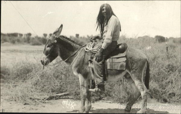 Rare Cocopah Indian Desert Rat on Donkey Native Americana