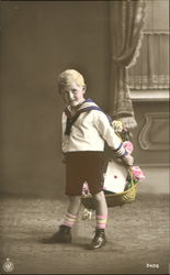 Boy with Basket Tinted