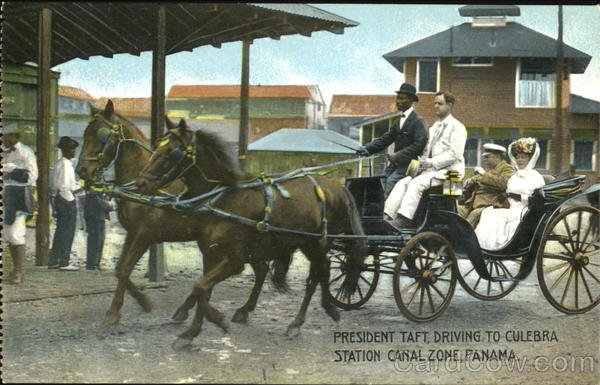 President Taft Driving To Culebra, Station Canal Zone Panama