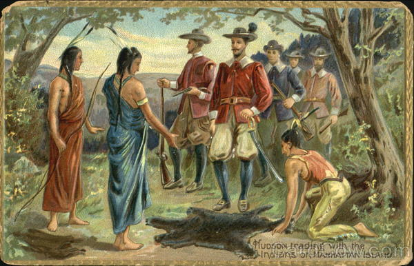 Hudson Trading With Indians On Manhattan Island Native