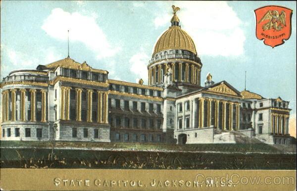 State Capitol Gold Embossed Jackson Mississippi