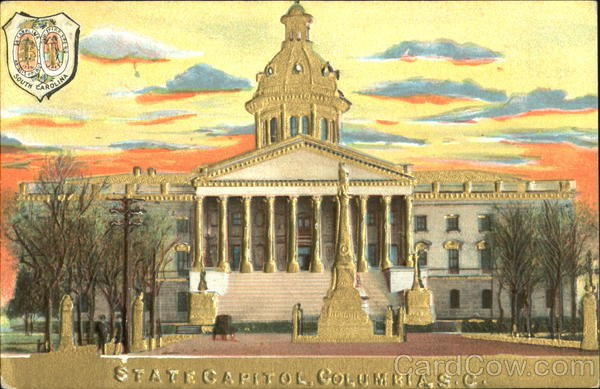 State Capitol Gold Embossed Columbia South Carolina