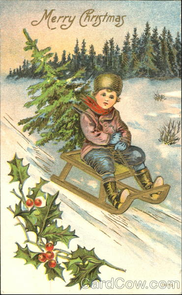 Boy on Sled Children