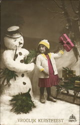 Tinted Girl with Snowman