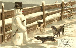 Dogs Barking at Snowman